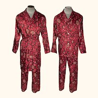 Vintage 1960s Silk Pyjamas & Robe Red Paisley Dressing Gown Size M L