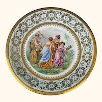 Antique Limoges Porcelain Cabinet Plate Cupid and Three Graces A Lanternier