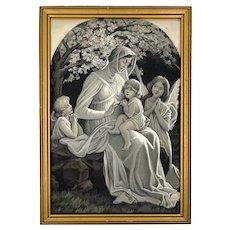 Antique Stevengraph Woven Silk Tapestry Madonna w Child Jesus Neyret Freres E Sonrel