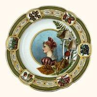 Antique Hand Painted Portrait Plate w Mushrooms Richter Fenkl & Hahn Bohemia