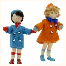 "Vintage 1950s Grecon Doll Pair Children Dollhouse Scale 2 3/8"""