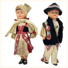 "Vintage Czech Folk Costume Dolls Boy & Girl 12"""
