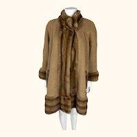 Vintage Ladies Wool Coat with Mink Trim Custom Made Size M L