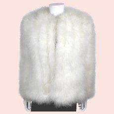 Vintage 1970s White Marabou Evening Jacket Ladies Size M