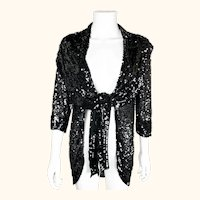 Vintage 1930s Black Hand Sequinned Jacket Sequins on Netting Ladies Size S
