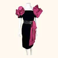 Vintage 1980s Renato Balestra Dress Black Velvet & Silk