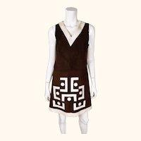 Vintage 60s Pierre Cardin Mod Suede Leather Dress 1968 Design