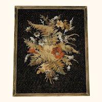 Antique Victorian Floral Needlework w Beaded Needlepoint Framed Berlin Wool Work
