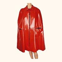 Vintage 1960s Mod Red Vinyl Cape Maria Carine Couture Guy Laroche Paris Design