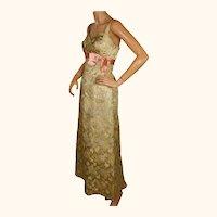 Vintage 1960s Evening Gown Gold Lame Brocade Switzerland Size M