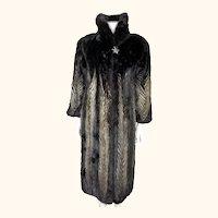 Vintage Mink Coat Chevron Pattern Beige Black Sz M