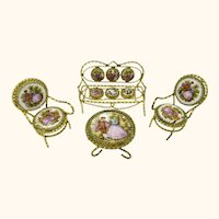 Vintage Limoges Porcelain Doll House Furniture Table Chairs Sofa Fragonard