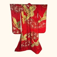 Japanese Wedding Kimono Iro Uchikake Red Silk with Gold Cranes