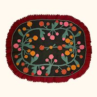 """Antique Victorian Wool Rug with Felt Floral Appliques 34"""" by 42"""""""