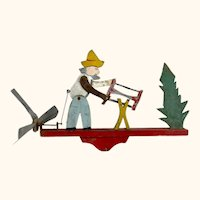 Vintage Folk Art Whirligig Man Sawing Wood