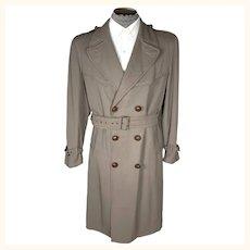 Vintage Mens 1940s Gabardine Trench Coat Crown Montreal Size M