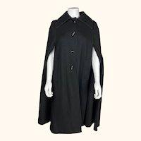 Vintage Cape Coat Rainmaster Marielle Fleury Black Wool 1970s