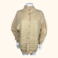 Vintage 1980s Courreges Paris Sweater Jacket Pale Yellow Wool Knit