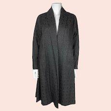 Vintage 1950s Black Silk Brocatelle Evening Coat with Floral Pattern Size M / L