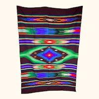 Vintage 1940s 50s Mexican Saltillo Serape Wool Blanket