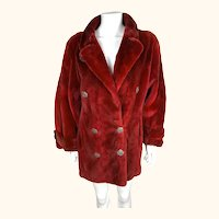 Vintage 1980s Red Dyed Sheared Rabbit Fur Coat Size M Oversized