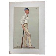 Antique Cricket Vanity Fair Chromolitho Print Lord Harris Cricketeer 1881