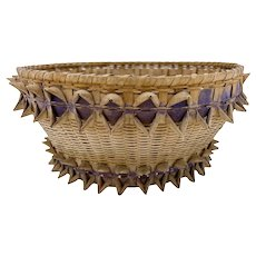 Vintage Native American Indian Curly Ash and Sweetgrass Basket Woodland Tribe