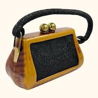 Vintage 1940s 50s Butterscotch Bakelite Handbag Beaded Purse Fre-Mor
