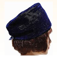 Vintage 60s Pierre Balmain Reproduction Royal Blue Velvet Pilbox Hat