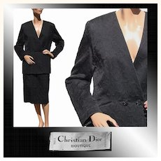 Vintage 1980s Christian Dior Suit - Black Cotton - M