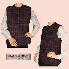 Vintage 1970s Yves Saint Laurent Vest Rive Gauche Paris Plaid Wool Ladies Size Small