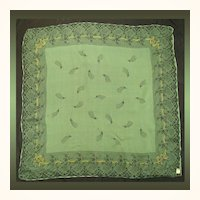 Vintage 1950s Green and Black Silk Chiffon Scarf  - New Old Stock
