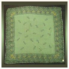 Vintage 1950s Green & Black Silk Chiffon Scarf  //  NOS