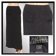 Vintage 1990s Jean Paul Gaultier Black Skirt - Femme Label - Small Size 6