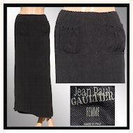 Vintage 1990s Jean Paul Gaultier Skirt // Femme Label Long Black Ladies Small Size 6