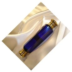 Antique Victorian Cobalt Blue, Double-Ended Perfume Bottle