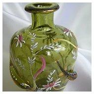 Vintage Moser Green Enameled Vase W/Applied Fish