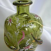 Vintage Moser Green Enameled Vase W/Applied Fish