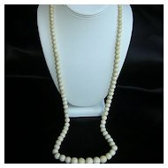 Lovely Vintage Carved  Ox  Bone Necklace