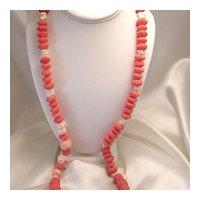 Lovely Vintage Angel Skin Coral & Sponge Coral Bead Necklace