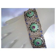 Art Deco - Chinese Silver, Enamel & Amethyst Panel Bracelet