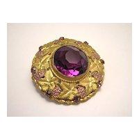 Vintage Victorian Gilt Brooch w/ Amethyst Glass Stone