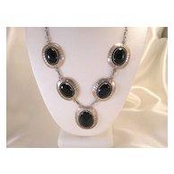 Vintage Sterling Silver & Onyx Necklace Art Deco Design