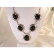Vintage Sterling Silver & Onyx Necklace Art Deco Design