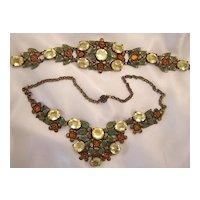Vintage Czech Citrine & Enamel Necklace & Bracelet