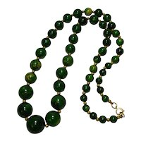30'' Marbled Green & Yellow Bakelite Necklace