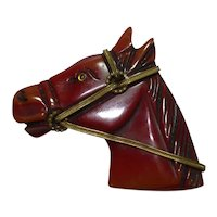Carved Over Dyed Bakelite Horse Head Pin