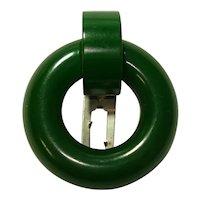 Translucent Green Bakelite Door Knocker Dress / Fur Clip