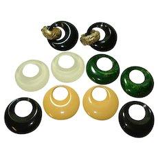 5 Pairs Interchangeable KJL Bakelite Lucite Door Knocker Earrings