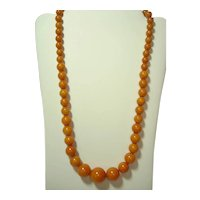 22'' Marbled Butterscotch Bakelite Beaded Necklace